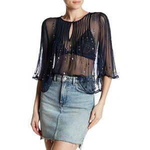 Free People Jewel Box sheer embellished blouse xs